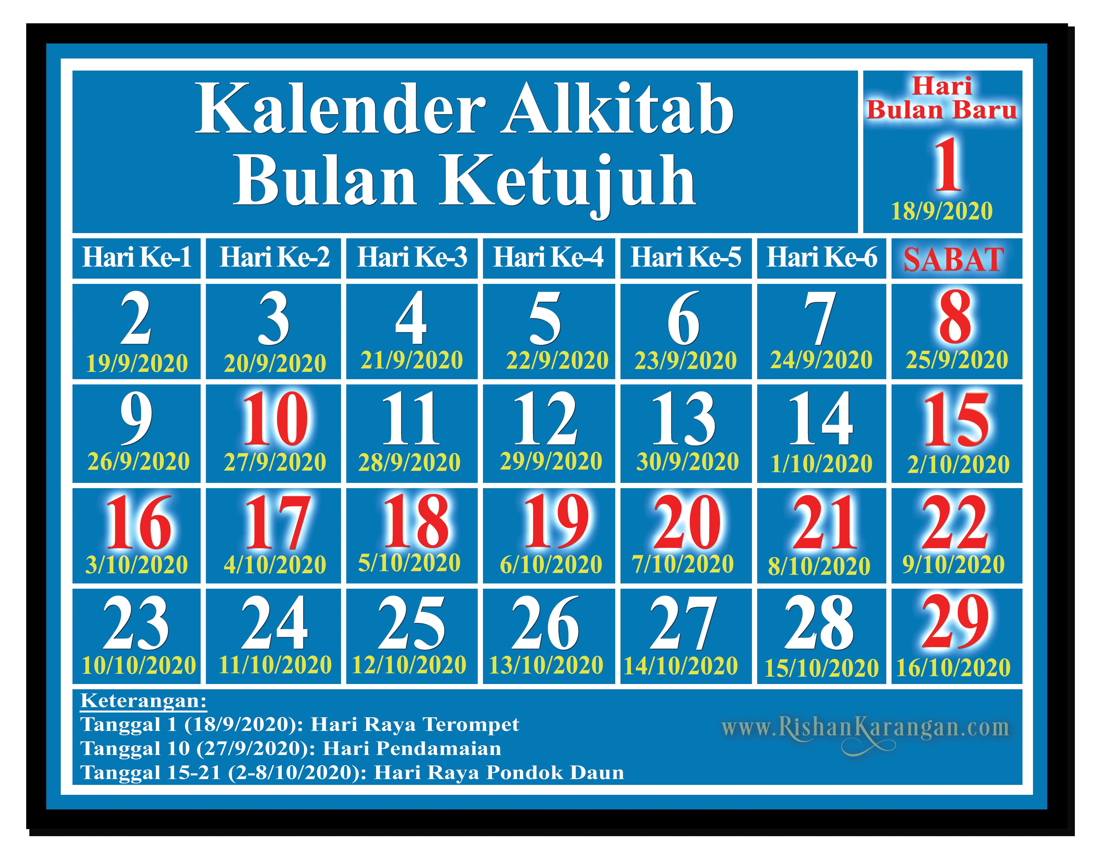 kalender alkitab bulan tujuh